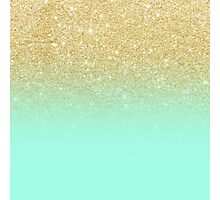 Stylish faux gold ombre mint green block Photographic Print