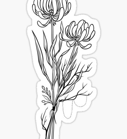 Flowers Lineart Tattoo Style // Black and White Sticker