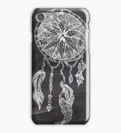 Ethnic handdrawn dreamcatcher black chalkboard iPhone Case/Skin