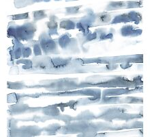 Watercolor blue line stains  Photographic Print