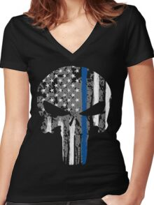 Punisher - Blue Line Women's Fitted V-Neck T-Shirt