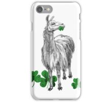 Saint Patrick's Day llama with shamrock leaves iPhone Case/Skin