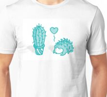 Love between cactus and hedgehog Unisex T-Shirt