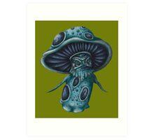 Little Blue Mushroom Creature Art Print
