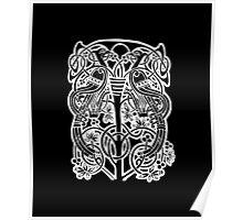 Celtic owl width birds on vine tree Poster
