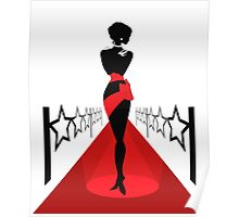 Woman silhouette on a red carpet Poster