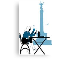 Woman silhouette in Berlin cafe Canvas Print
