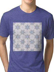 Kudu (Blue) - Organic Animal Skull Repeat Pattern Series Tri-blend T-Shirt