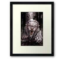 Fierce Albino Ice Age Smilodon (Sabre Tooth Tiger) Framed Print