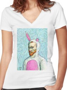 Van Gogh bunny costume Women's Fitted V-Neck T-Shirt