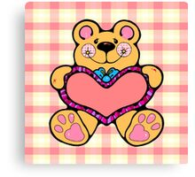 Country Style Valentine Teddy Bear Graphic Holding Heart Plaid Background Canvas Print