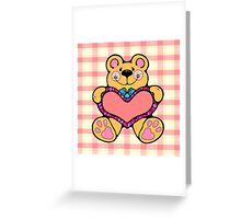 Country Style Valentine Teddy Bear Graphic Holding Heart Plaid Background Greeting Card