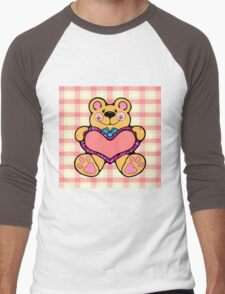Country Style Valentine Teddy Bear Graphic Holding Heart Plaid Background Men's Baseball ¾ T-Shirt