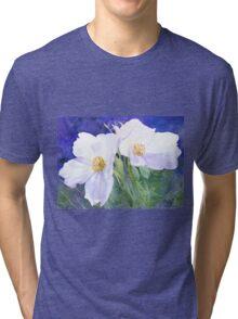 White rose (Rosa Rugosa Alba) (Original painting sold) Tri-blend T-Shirt