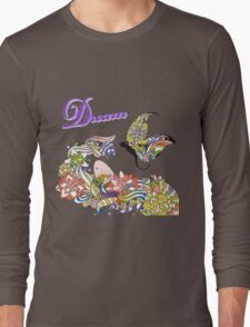 Dream Abstract Flowers And Butterfly Artsy Design Long Sleeve T-Shirt