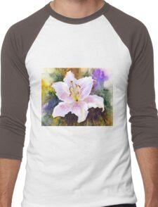 """Lily """"Muscadet"""" (Lilium Orientalis Muscadet) Men's Baseball ¾ T-Shirt"""