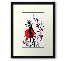 Graphic silhouette of a woman Framed Print