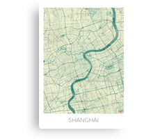 Shanghai Map Blue Vintage Canvas Print