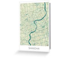 Shanghai Map Blue Vintage Greeting Card