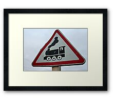 road sign  railroad crossing Framed Print