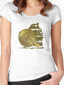 A Nocturnal Voyage At Sea Women's Fitted Scoop T-Shirt