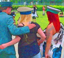 BERLIN-Fun, Uniformed guys make fun with tourists Sticker