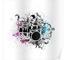 Funky Drummer Vector Illustration Poster