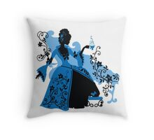 Graphic silhouette of a rococo woman Throw Pillow