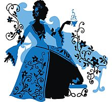 Graphic silhouette of a rococo woman Photographic Print