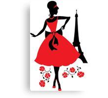 Retro woman silhouette Canvas Print