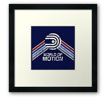 World of Motion Logo in Vintage Distressed Style Framed Print