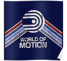 World of Motion Logo in Vintage Distressed Style Poster