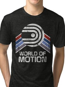 World of Motion Logo in Vintage Distressed Style Tri-blend T-Shirt