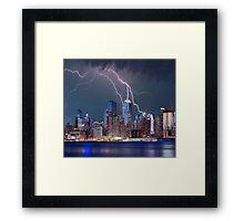 Lightning over New York City Framed Print
