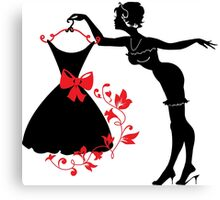 Pin up woman silhouette Canvas Print