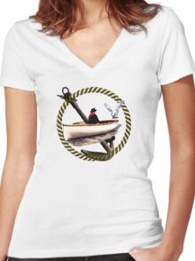 Making Friends At Sea Women's Fitted V-Neck T-Shirt