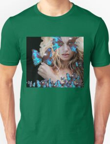 MYSTERIOUS BEAUTY WITH BLUE BUTTERFLY Unisex T-Shirt