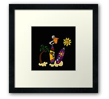 Cool Funny Pelican on Surfboard Surfing Art Framed Print