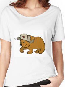 Cartoon Bear wearing a Russian hat earflaps Women's Relaxed Fit T-Shirt