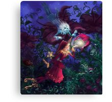Red and blue elves meet who born with wings Canvas Print