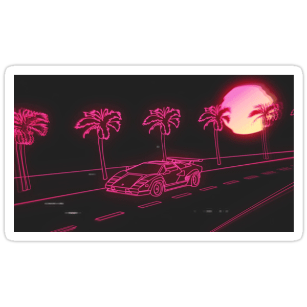 Quot Aesthetic Car Vaporwave Sticker Quot Stickers By 2002 Redbubble