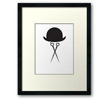 Scissors and Bowler Hat Framed Print