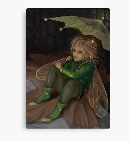 Autumn elf with umbrella Canvas Print