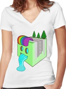 The Earth Cube Women's Fitted V-Neck T-Shirt