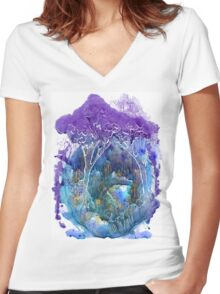 Beautiful forest Women's Fitted V-Neck T-Shirt