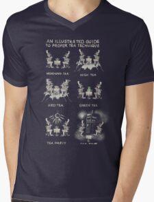 An illustrated Guide to Proper Tea Technique Mens V-Neck T-Shirt