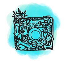 Camera Doodle With Watercolor Background Photographic Print