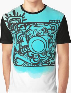 Camera Doodle With Watercolor Background Graphic T-Shirt