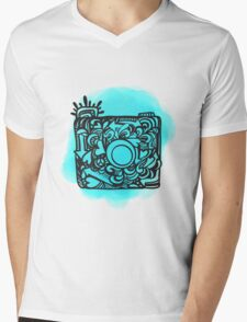 Camera Doodle With Watercolor Background Mens V-Neck T-Shirt