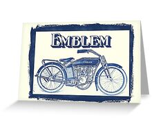 Classic American motorcycle Emblem 1915 blue grungy style Greeting Card